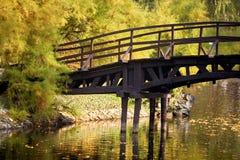 Japanese bridge over lake Royalty Free Stock Photos