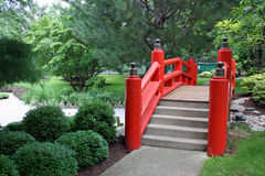 Japanese Bridge in Red Royalty Free Stock Photo
