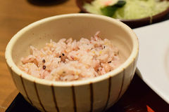 Japanese Brown Rice in traditional ceramic bowl Royalty Free Stock Photography