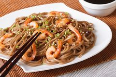 Japanese buckwheat soba noodles with shrimp horizontal Royalty Free Stock Photos
