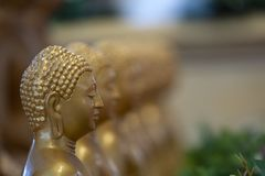 Japanese Buddah statue isolated close up. Detail stock image