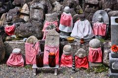 Japanese Buddhism. Kyoto, Japan - small jizo statues at famous Daitokuji (Daitoku-ji) Temple. Buddhist zen temple of Rinzai school. Jizo, also known as Stock Photography
