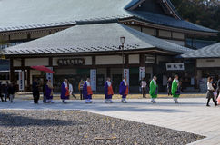 JAPANESE BUDDHIST MONKS. In Naritasan Temple in Narita, Japan Stock Photo