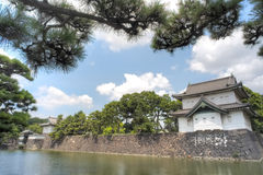Japanese building overlooking lake Stock Image