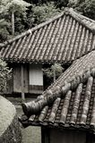 Japanese Buildings. A black and white picture of some traditional Japanese buildings with emphasis on the roofs Stock Image