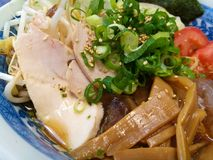 Japanese bukkakesoba buckwheat soba noodle soup served cold. Best to eat in hot Summer day Royalty Free Stock Images