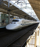 Japanese bullet train. Shinkansin in Kyoto railway station Royalty Free Stock Images