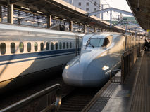 Japanese bullet train. Arriving at station Royalty Free Stock Image