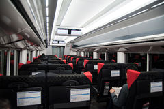 Japanese bullet train car. Interior of Janese bullet train which is moving underground Stock Image