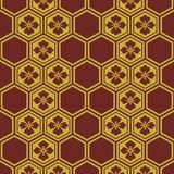 Japanese Burgundy and Gold Flower Pattern. Japanese Gold Flower Pattern on burgundy background vector illustration