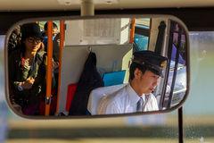 A Japanese bus driver in ISe City royalty free stock photography