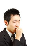 Japanese businessman suffer from a bad cough  Stock Image