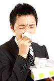 Japanese businessman suffer from a runny nose Stock Photography