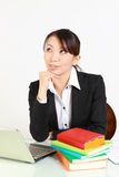 Japanese businesswoman dreaming at her future Stock Photos