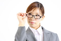 Japanese businesswoman thinks about something Royalty Free Stock Photos