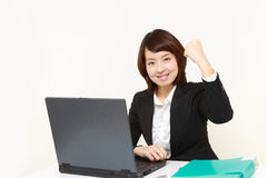 Japanese businesswoman in a victory pose Stock Photography