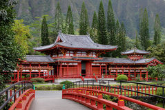 Japanese Byodo-in Temple. Buddhist Temple located in beautiful mountain setting, Oahu Hawaii Royalty Free Stock Photography