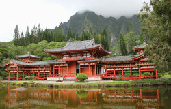 Japanese Byodo-in Temple. Serene Buddhist Temple located in the Mountains of Oahu Hawaii Royalty Free Stock Photography