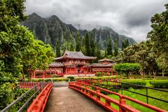 Byodo-in Temple in Ahuimanu, Hawaii royalty free stock photography