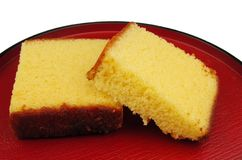 Japanese cake on a plate stock photography