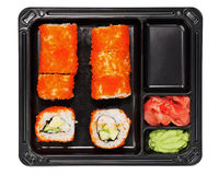 Japanese California maki sushi with masago. Royalty Free Stock Photos