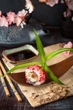 Japanese California Roll with salmon, avocado, cucumber, cream with Philadelphia cheese, tobiko caviar Sushi menu. stock photos