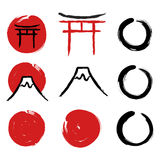 Japanese calligraphy symbols Stock Photos