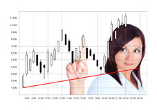 Japanese candlestick analyzed by young woman over white. Background stock photo