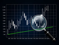 Japanese candlestick chart with magnifying glass  over d. Ark background Stock Photography