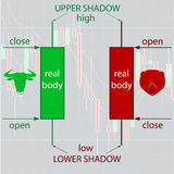 Japanese Candlestick Charting Basics for Forex and Binary Option. The basic form of candlesticks description Stock Image