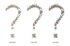 Japanese candlestick question marks vector illustration. Candlestick bars make question marks with different size lines graphic design Stock Images