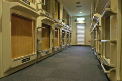 Japanese capsule hotel. View on Japanese capsule hotel Stock Photography