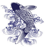 Japanese carp. I drew a carp in the technique of the Japanese traditional painting Stock Photos