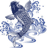 Japanese carp. I drew a carp in the technique of the Japanese traditional painting Royalty Free Stock Photos