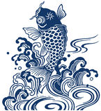 Japanese carp. I drew a carp in the technique of the Japanese traditional painting Royalty Free Stock Image