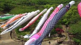 Japanese carp kite streamer decoration stock video footage