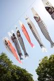 Japanese carp kite streamer Royalty Free Stock Images
