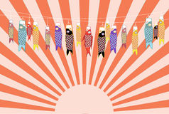 Japanese carp kites on green backgrounds, illustration Royalty Free Stock Photo