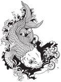 Japanese carp koi black white Stock Photography
