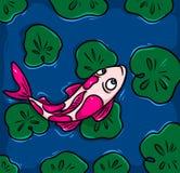 Japanese carp Koi swim cartoon illustration Stock Photo