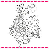 Japanese carp - line drawing vector image Stock Photography