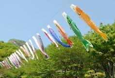 Japanese carp-shaped streamer Stock Images