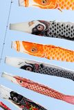 Japanese carp streamer decoration. Against blue sky, Children`s Day royalty free stock photo
