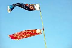 Japanese carp kites Stock Images