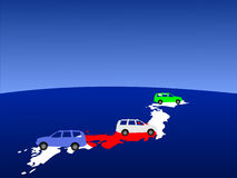 Japanese cars on map Stock Images