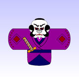 Japanese cartoon samurai with a sword Royalty Free Stock Photos