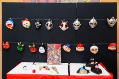 Japanese cartoon and traditional folk character masks and other. Hokkaido, Japan - 28 December 2017 - Japanese cartoon and traditional folk character masks and Royalty Free Stock Images