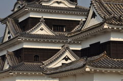 Japanese castle architectural roof detail. Ozu castle, Ehime, Japan. Roof detail of the typical Japanese architectural style Royalty Free Stock Photo