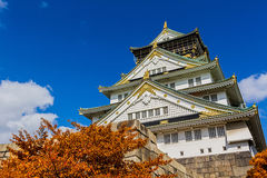 Japanese Castle with autumn leaves. Royalty Free Stock Image