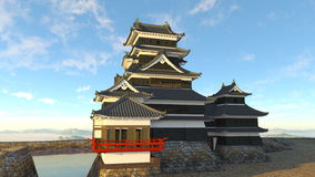 Japanese castle. 3D CG rendering of a Japanese castle Stock Photography